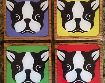 Boston Terrier Coasters Set Of 4 Coasters Wooden Coasters With An Epoxy Resin Shell Other Dog Breeds Availab Wooden Coasters Boston Terrier Square Plates
