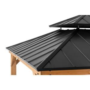 Archwood 12 Ft X 10 Ft Cedar Frame Gazebo With Double Tier Steel Roof Hardtop In 2020 Gazebo Hot Tub Landscaping Outdoor Pavilion