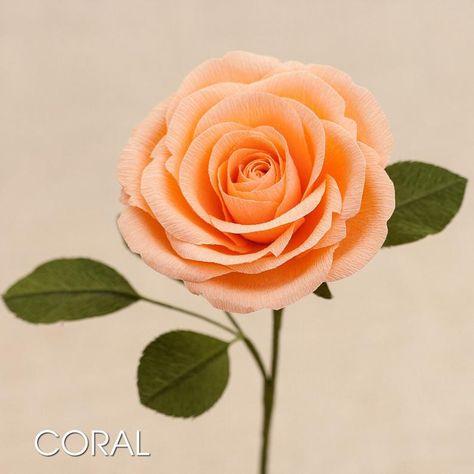 Paper Rose Single Stem Crepe Paper Flowers Paper Flowers Etsy In 2020 Paper Roses Paper Flowers Crepe Paper Flowers