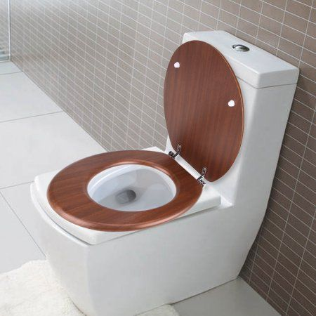 Mdf Toilet Quiet Lid Cover Bathroom Hotel Home Seats Red Brown