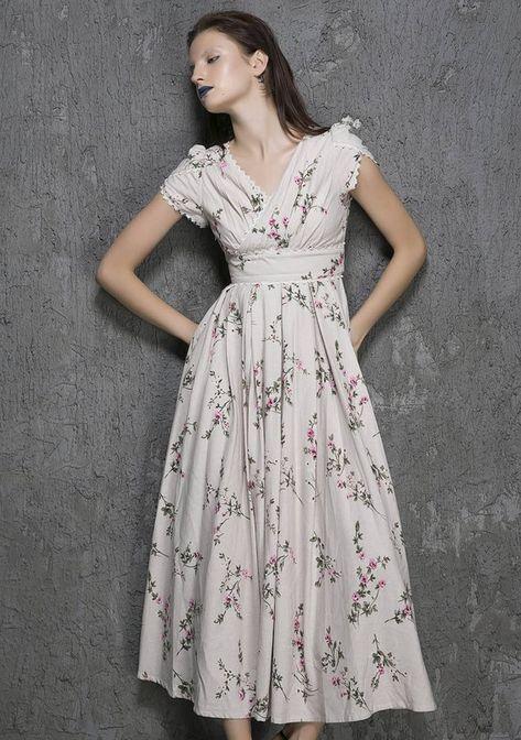117a74c8615e floryday Polyester Floral Short Sleeve Mid-Calf Vintage Dresses ...