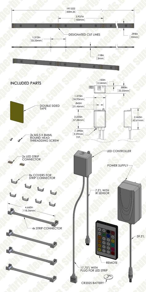 Outdoor RGB LED Strip Light Kit - Color Chasing 12V LED Tape Light