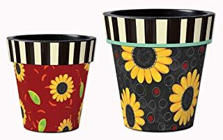 Studio M Ap25086 Coordinating Art Planters 12 Inch And 15 Inch Painted Clay Pots Flower Pots Planter Pots