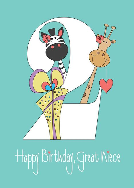 2nd Birthday Great Niece Two With Zebra And Giraffe Card Ad Spon Niece Great Birthday C 2nd Birthday Happy 2nd Birthday Diaper Invitation Template