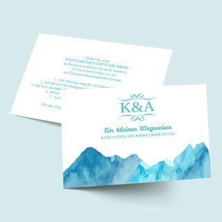 Einleger - Einzelkarten zur Hochzeit und passend zu Euren Hochzeitseinladungen mit Bergmotiv: Berge versetzen