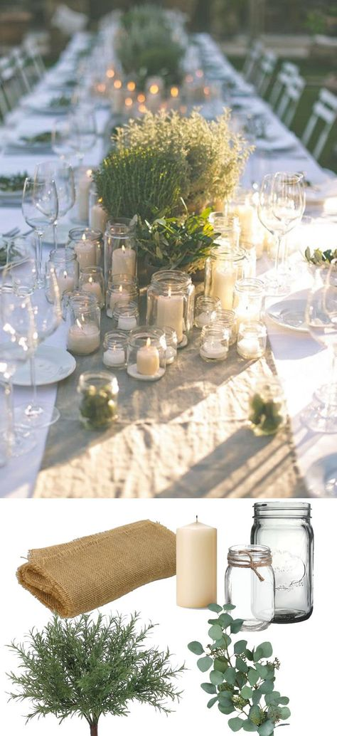 Search Beautiful rustic green tablescape. Recreate this look with burlap, jars, and faux greenery from afloral.com #diywedding...  #Search