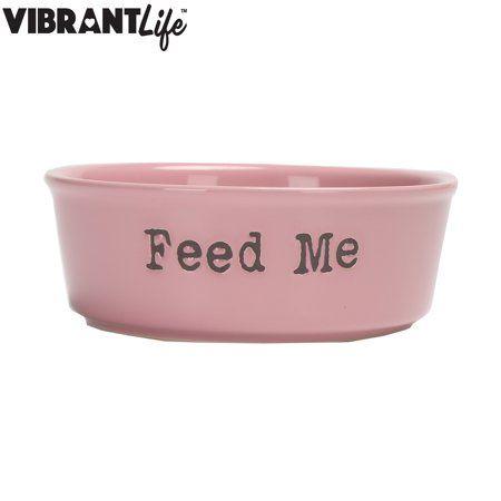 Vibrant Life Ceramic Feed Me Pet Bowl Pink Medium Walmart Com In 2021 Dog Bowls Ceramic Dog Bowl Cute Dog Bowls