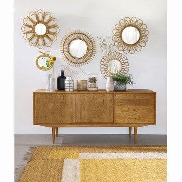 Buffet Vintage 2 Portes 4 Tiroirs Quilda La Redoute Interieurs Rangement Miroir En Rotin Mobilier De Salon Idees De Decor