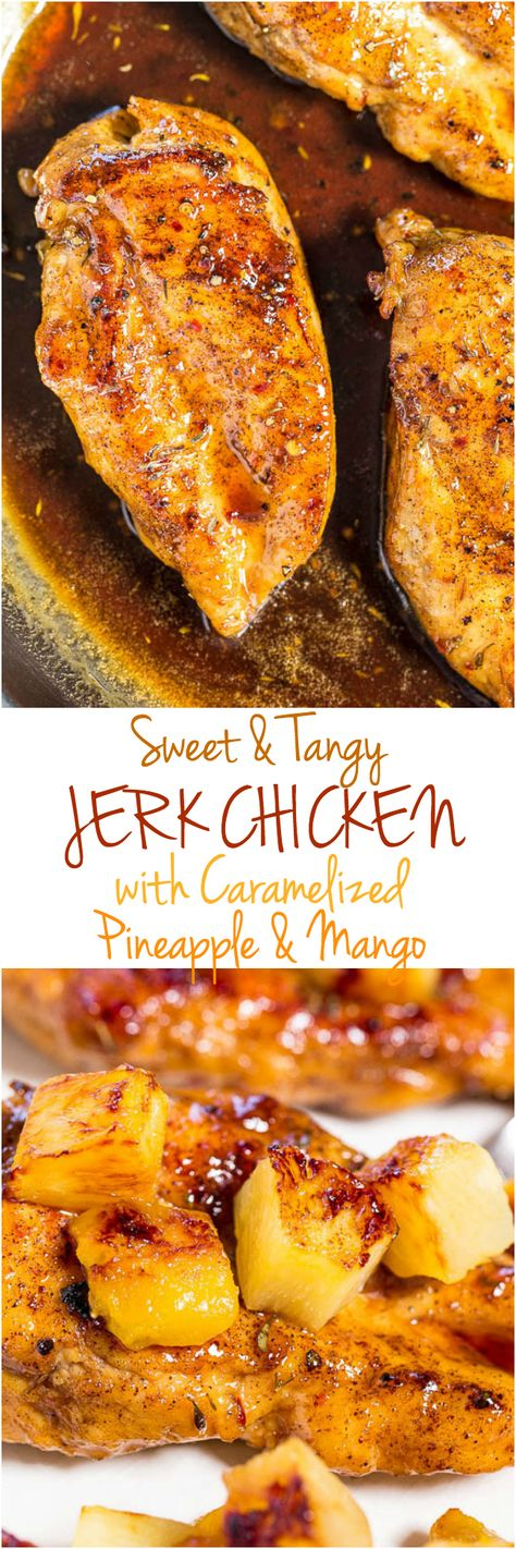 Sweet and Tangy Jerk Chicken with Caramelized Pineapple and Mango - Easy and ready in 15 minutes! Dinner that tastes like a tropical vacation is a guaranteed hit!! Your #FourthofJuly #LaborDay guests will love it!