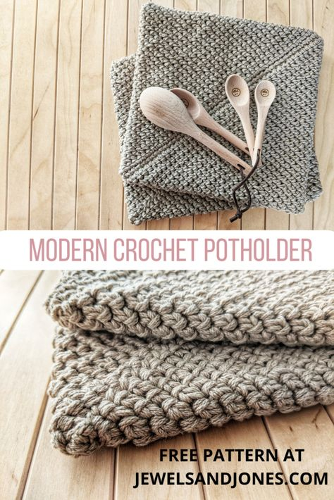Modern Thick Crochet Potholder - Jewels and Jones Crochet Potholder Patterns, Modern Crochet Patterns, Crochet Dishcloths, Crochet Designs, Modern Crochet Blanket, Learn To Crochet, Easy Crochet, Free Crochet, Crochet Lamp