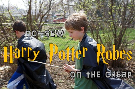 tiny scissor times: How to make Harry Potter robes out of plastic table cloths.