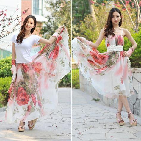 Cercle complet grand ourlet élégants deux sortes de mousseline de soie été usés Maxi jupe longue