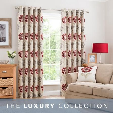 Dunelm Floral Fully Lined Claret Red 228x228cm Lucy Eyelet