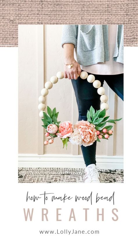 DIY Wood Bead Floral Wreath – Lolly Jane How to make wood bead wreaths with hot glue and floral wire. SO EASY! Love this easy to make wreath tutorial, so pretty! The post DIY Wood Bead Floral Wreath – Lolly Jane appeared first on DIY Crafts. Cute Crafts, Crafts To Do, Wood Crafts, Decor Crafts, Cute Diy Projects, Dyi Crafts, Wreath Crafts, Wreath Ideas, Diy Summer Projects