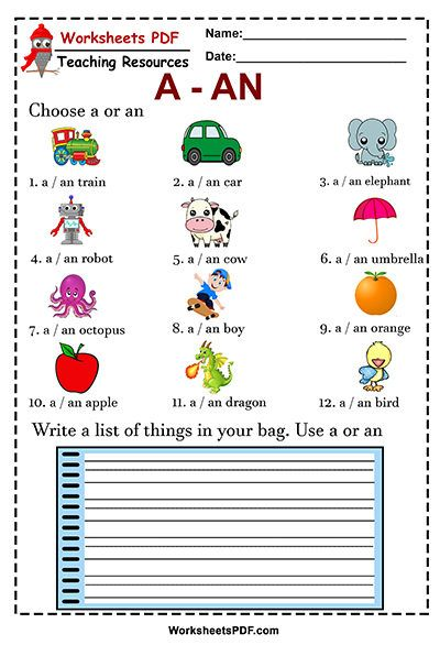 Write a list of things in your bag. Use a or an - Worksheets PDF