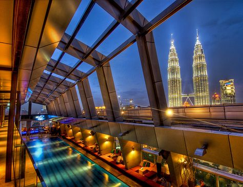 The Sky Bar in Kuala Lumpur with a view of Petronas by Stuck in Customs, via Flickr