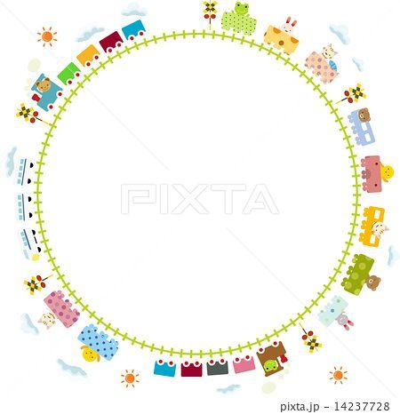 子供向け 可愛い踏切 線路を走る動物電車のイラスト素材 14237728 Pixta 電車イラスト 名刺 デザイン フレーム イラスト 無料