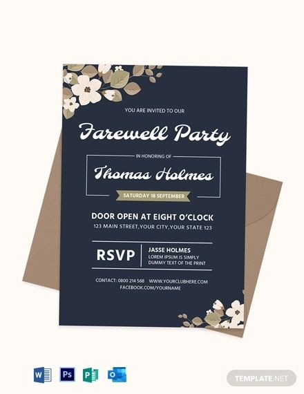 Farewell Party Invitation Card Template Free Pdf Word Psd Publisher Outlook Farewell Party Invitations Party Invitations Invitations
