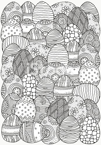 Pattern For Coloring Book A4 Size Hand Drawn Decorative Elements In Easter Coloring Book Coloring Books Easter Coloring Pages