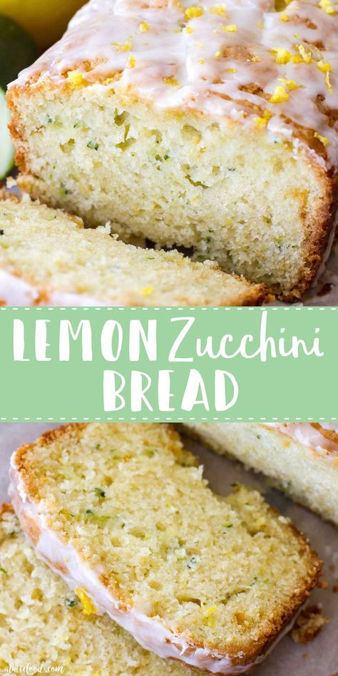 Homemade Lemon Zucchini Bread is sweet, moist, and slightly tangy thanks to the homemade lemon glaze on top! This easy zucchini bread recipe has a lemon bread twist to it, making it the perfect quick bread Lemon Zucchini Bread, Lemon Bread, Zucchini Bread Recipes, Zuchinni Bread, Dairy Free Zucchini Bread, Gluten Free Zucchini Muffins, Carrot Bread Recipe, Zucchini Desserts, Zucchini Bites