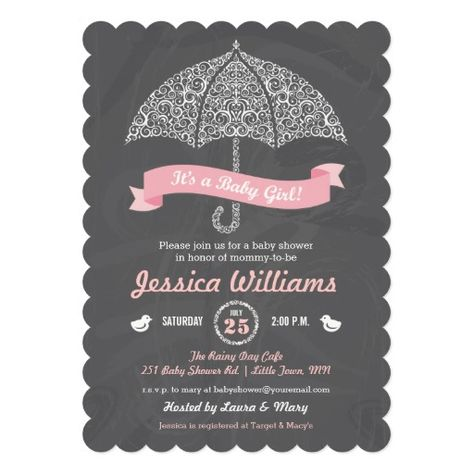 It's a Girl Baby Shower Umbrella Chalkboard Invite