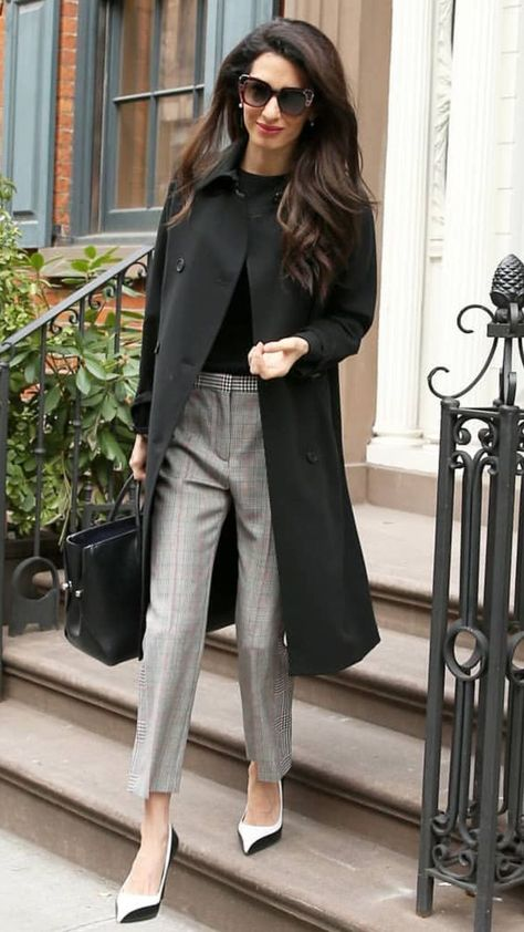 Amal Clooney spotted leaving her appartment in SoHo Amal Clooney was spotted chic and elegant leaving her appartment in SoHo, Manhattan on April Style Files Amal Clooney wore a MAX MARA coat in black ALEXANDER MCQUEEN Cropped Prince of Wa…