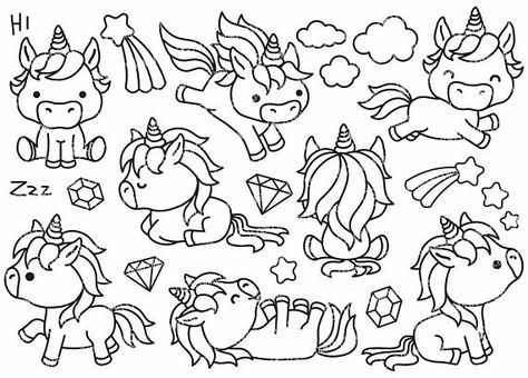 Premium Vector Clipart Kawaii Unicorns Outlines Cute Unicorn