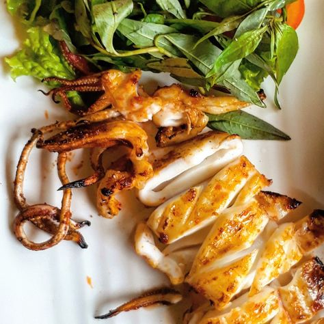 grilled Muc Nuong (grilled squid),...