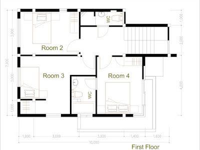 Modern Home Plan 7 5x9m Google Drive Denah Rumah Rumah Minimalis Desain Rumah