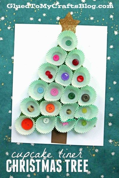 Cupcake Liner Christmas Tree Kid Craft Idea Diy Winter Crafts For Kids Xmas Crafts Christmas Crafts For Kids