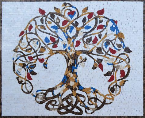 Exquisite Tree of Life – Mosaic Art - Modern Tree Of Life Artwork, Tree Of Life Painting, Tree Art, Mosaic Art Projects, Mosaic Crafts, Tree Of Life Quotes, Tree Drawings Pencil, Tree Of Life Jewelry, Celtic Tree Of Life