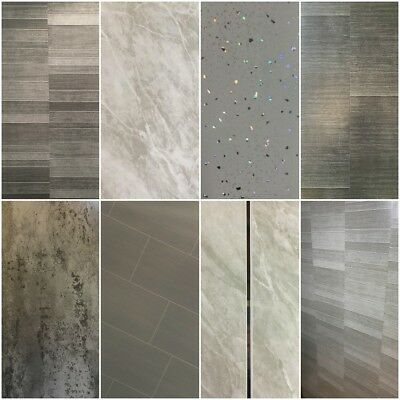 Tile Effect Panels Multi Tile Slate 8mm Sparkle Panels Cutline Grey Tile Effect Shower Pane In 2020 Bathroom Shower Walls Bathroom Wall Cladding Shower Wall Panels