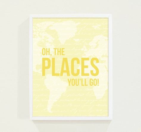 Yellow Nursery Wall Art Print - Oh, The Places You'll Go - Baby Girl Nursery Art Map for the Modern Nursery - Kids Wall Art. $18.00, via Etsy.