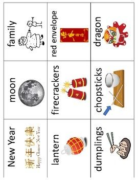 Chinese New Year Vocabulary Cards Great For Esl Enl Chinese