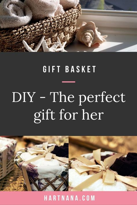 Who doesn't love a spa gift basket? Several easy to create DIY gift basket ideas. Truly spa gift baskets are the perfect gift for her. Easy homemade soaps recipe included.#hartnana #DIYgiftbasket #spagiftbasket