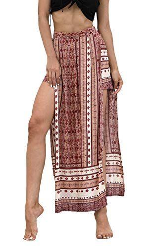 856628adb9 Anaisy Automne Eté Femme Pantalons Roche Élégant Pantalon Jupe Femme Longue  Fleurs Karo Jeune Longue Jupe