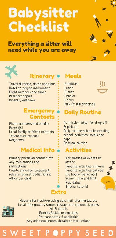 Babysitter Travel Checklist - release of medical information form