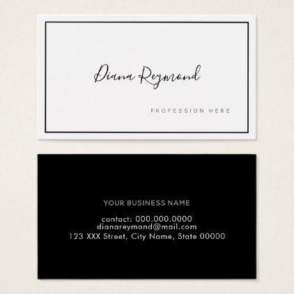 Black And White Signature Prof Minimalist Business Card Zazzle Com Minimalist Business Cards Business Card Minimalist Business Cards Elegant
