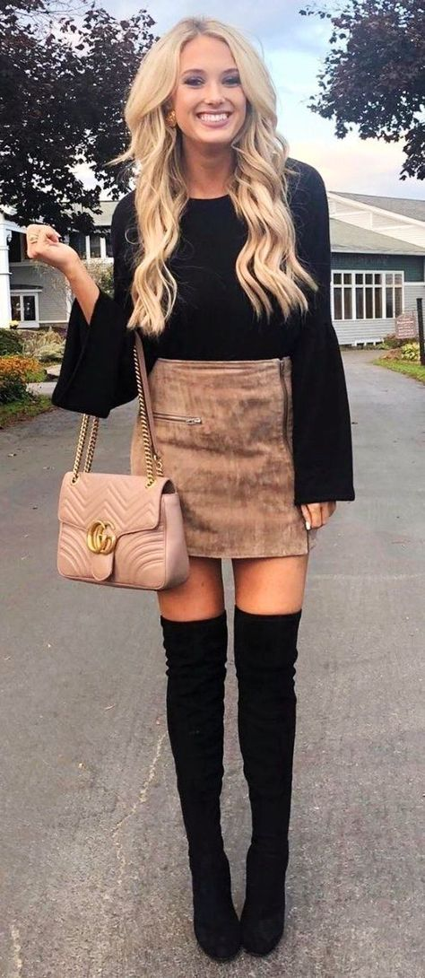 Winter Outfits Black Long Sleeved Top Gray Mini Skirt And Pair