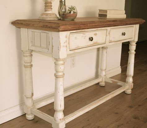 Farmhouse Style Console Table Distressed White Paint Light