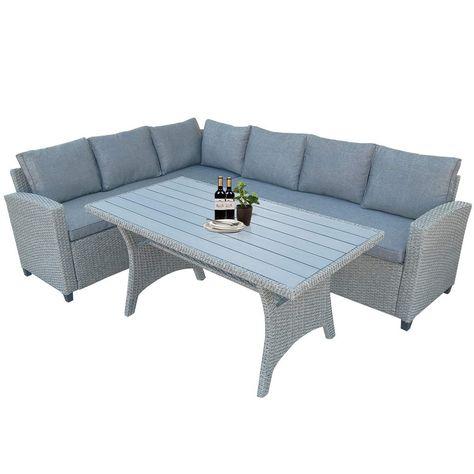 LZ LEISURE ZONE 4 PC Rattan Patio Furniture Set Outdoor Garden Cushioned Seat Wicker Sofa Brown