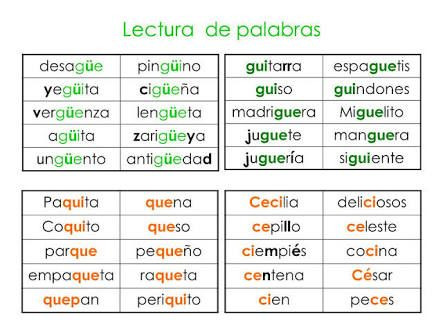Resultado De Imagen Para Palabras Con Gue Y Gui Para Colorear Lectura De Palabras Palabras Leer Y Escribir