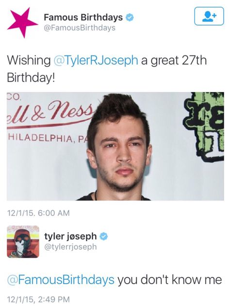 Haha!!! He always says that whenever anyone says anything about him or Josh.