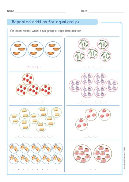 Write Repeated Addition And Multiplication For Equal Groups Repeated Addition Multiplication Concepts Repeated Addition Worksheets