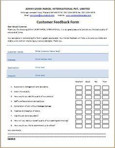Customer Feedback Form Customer Feedback Document Templates