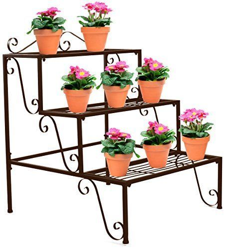 Garden Patio,Outdoor Metal Plant Stand 3 in 1 Potted Irons Planter Supports Floor Flower Pot Round Rack Display with Scroll Pattern Perfect for Home Lawn