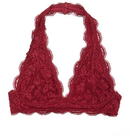 61936afc4ca4a4 r.bryant Burgundy Scalloped Lace Halter Bralette ( 13) ❤ liked on Polyvore  featuring