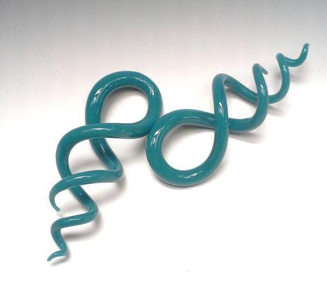 Pair Blue Ribbon Pyrex Glass Spiral 1//2 inch 13mm