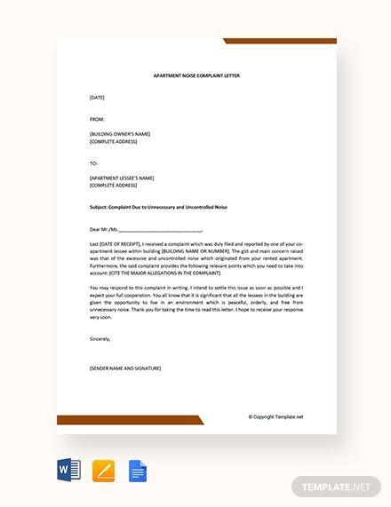 Free Apartment Noise Complaint Letter | Job hints