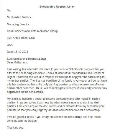 Request Scholarship Application Letter Application Letters